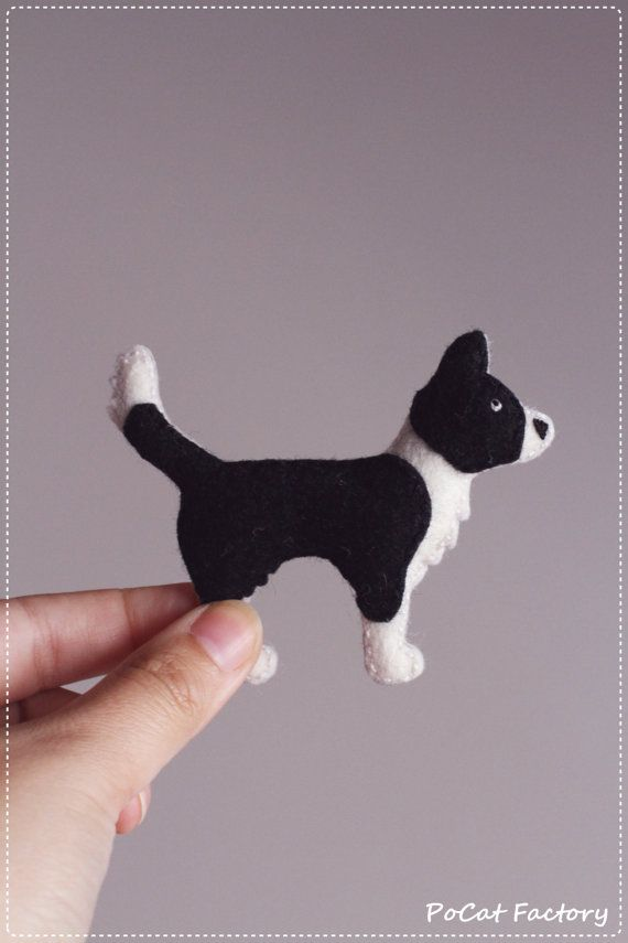 Border Collie felt dog brooch by PoCatFactory on Etsy