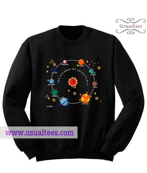 Planet Solar System and Stars Sweatshirt from usualtees.com This sweatshirt is Made To Order, one by one printed so we can control the quality.