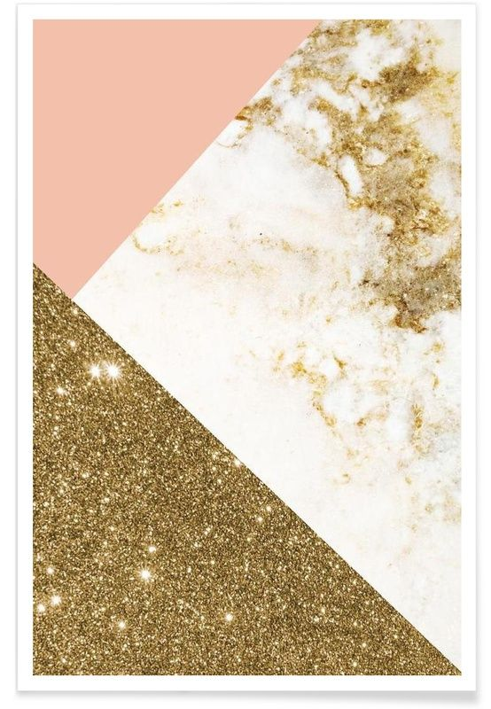 Pink and Gold Marble Collage als Premium poster door cafelab   JUNIQE