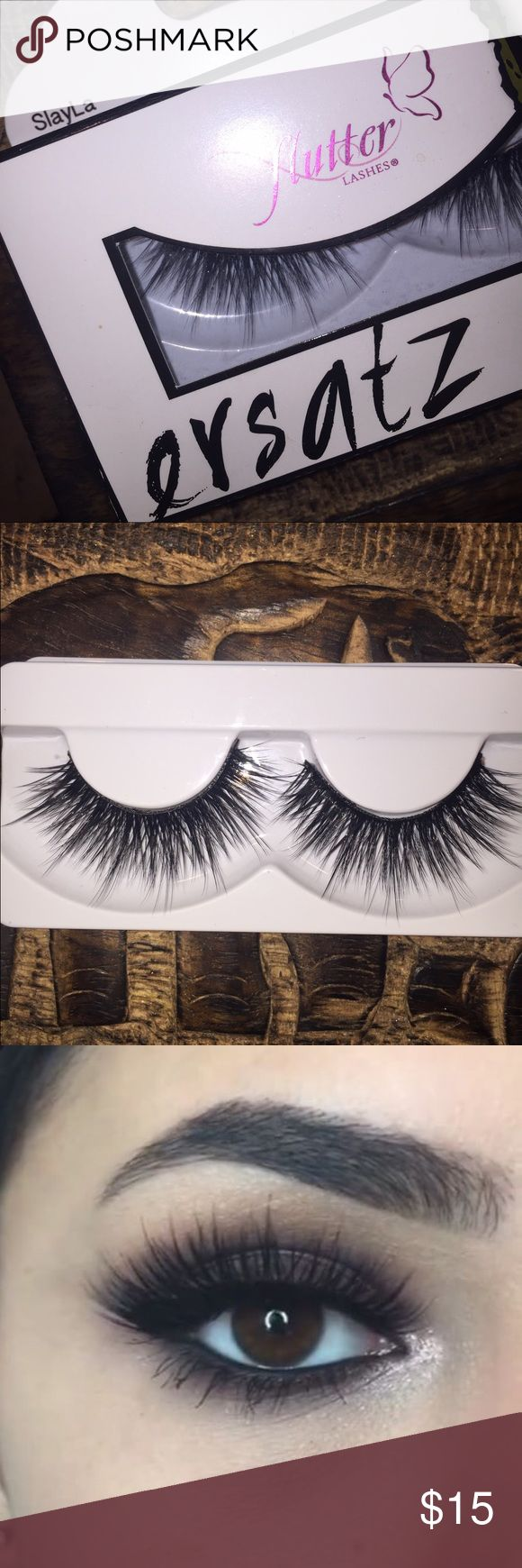 Flutter SlayLa lashes Lashes that accomplish a dramatic flare while still looking natural. I bought these for a Halloween costume but ended up not needing them, so they've never been worn. Flutter Makeup Mascara