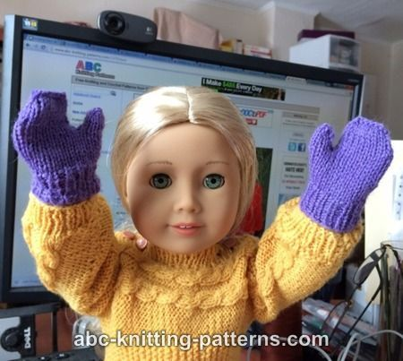 ABC Knitting Patterns - American Girl Doll Winter Fun Mittens and Scarves
