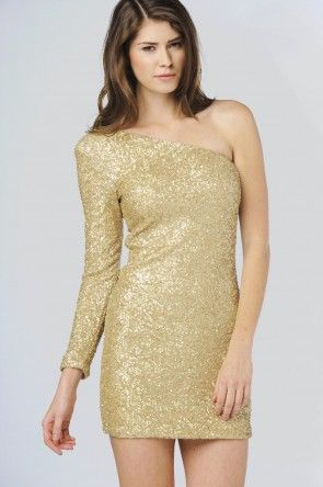 Judith One Sleeve Sequin Dress