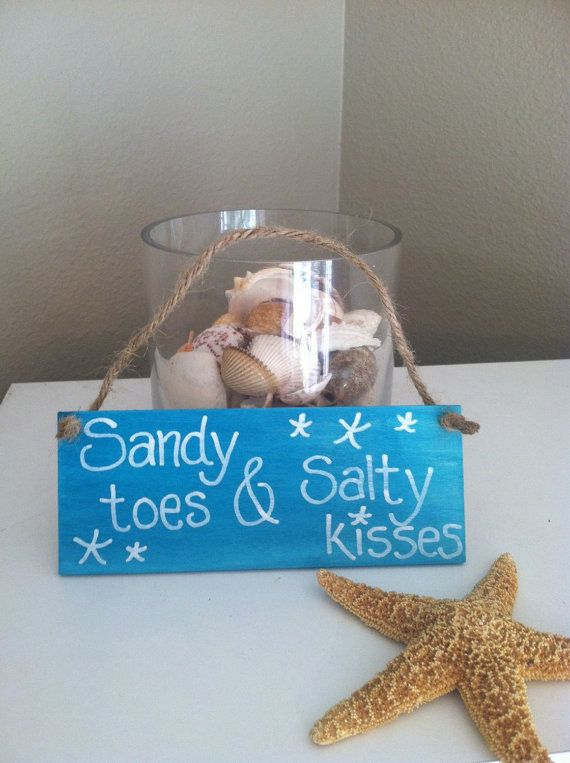 Sandy toes and Salty kisses wooden beach sign Beach decor Beach bathroom decor Wood beach signs by DebDebsCrafts