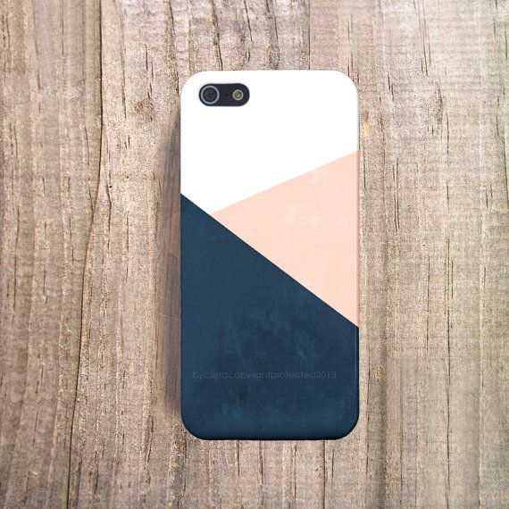 Navy iPhone 6 Case Peach Chevron iPhone 4 Case door casesbycsera