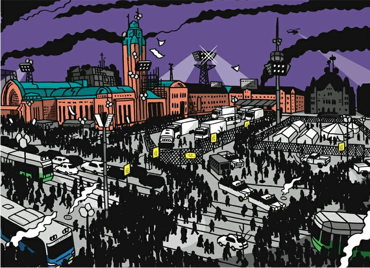 Illustration by Jukka Pylväs for Yellow City – Illustrated stories from Helsinki