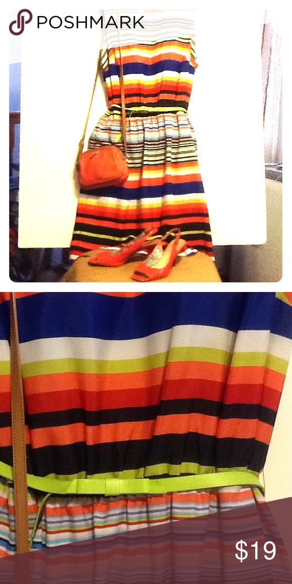 PLUS SIZE FESTIVAL MULTI-STRIPED DRESS SIZE 20W Plus size festival multi-striped dress perfect for taking on the warmer weather with style!!  Easy breezy fabric with adjustable belt.  So cute!!  Can wear with or without blazer or cardi!  Size 20W.  Only $19.00!!!!! Shelby & Palmer Dresses Midi