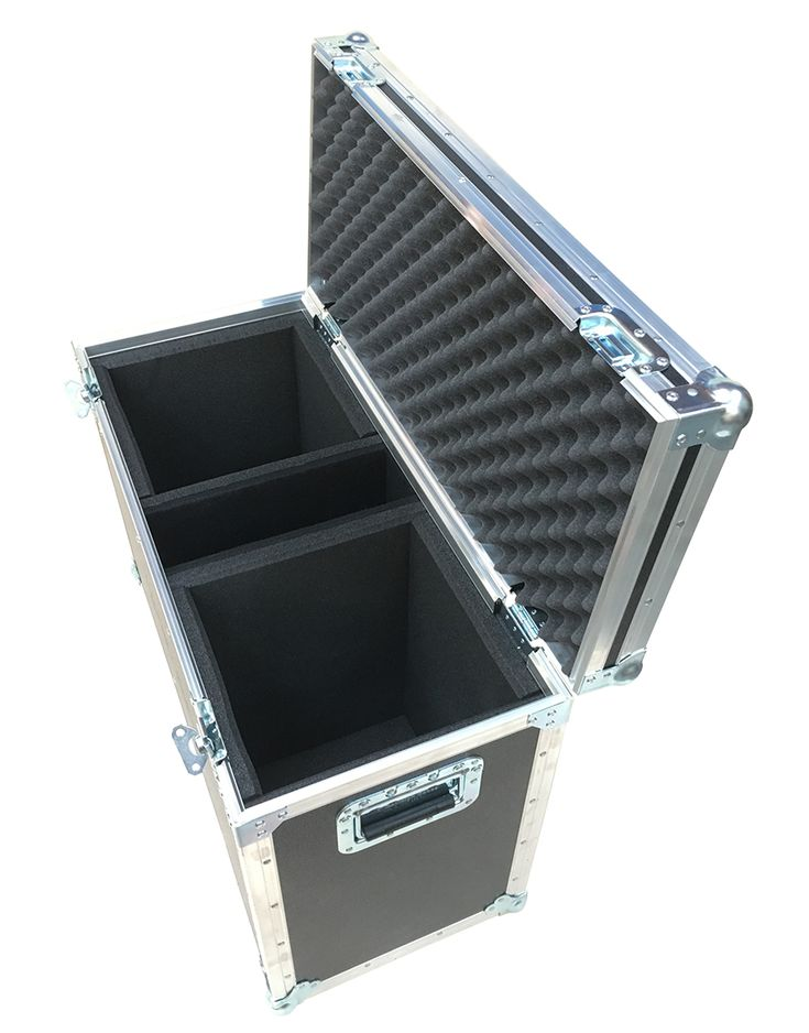 Flight Case for 2x Yamaha DXR8 Self powered Speakers manufactured using 9mm PVC material with small tour label dish on top of the case from Best Flight Cases
