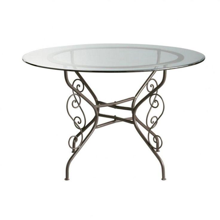 Table ronde de salle à manger en verre et fer forgé D 120 cm Toscane   Maisons du Monde