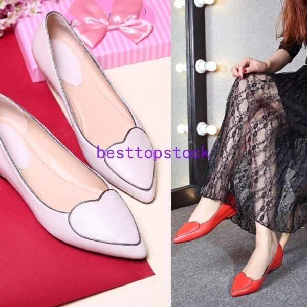 Womens Pointy Toe Slip On Cow Leather Low Heel Dress Party Shoes Fashion Ladies