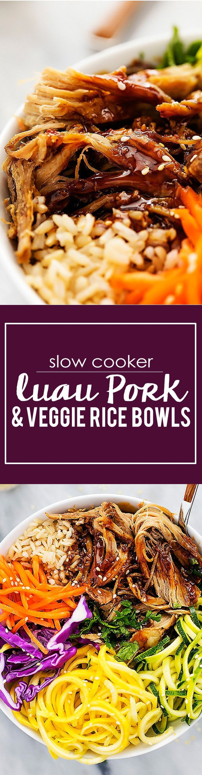 Luau Pork + Rainbow Veggie Rice Bowls | Creme de la Crumb