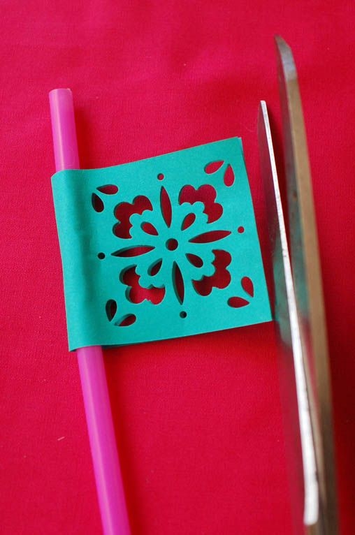 Papel Picado-esque Straw Flags - Cupcakes and Cutlery