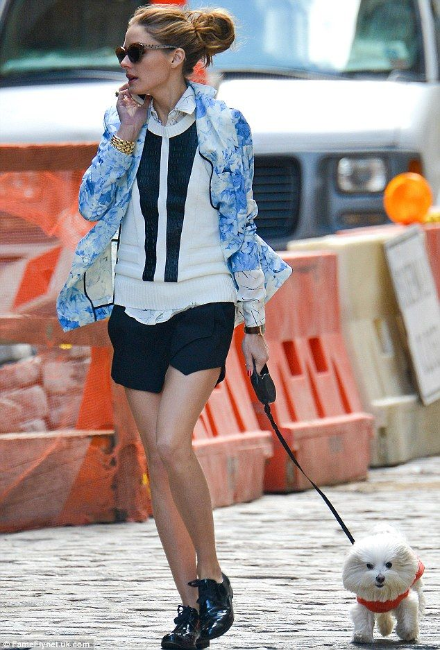 Hot to trot! Olivia Palermo took her dog Mr. Butler out for a stroll in New York City on Monday