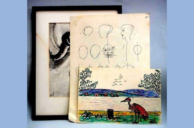 1940s Vintage LOT 3pc ORIGINAL ART SKETCH GEORGE MEADE EASBY Color B W