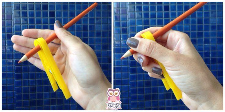 Ensine a usar o lápis corretamente com o movimento de pinça, apenas com um pregador!   Uma ideia simples pode favorecer a preensão (o ato de pegar no láp
