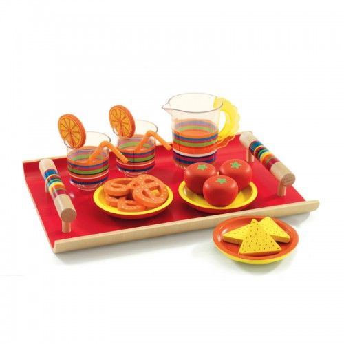 A tray of sandwiches and a nice cool ice tea - perfect for lazing by the pool. This is a beautiful brightly coloured set includes a red wooden tray with brightly striped handles, 2 cups with lemon slices and straws, drinks jug, wooden plates and food.