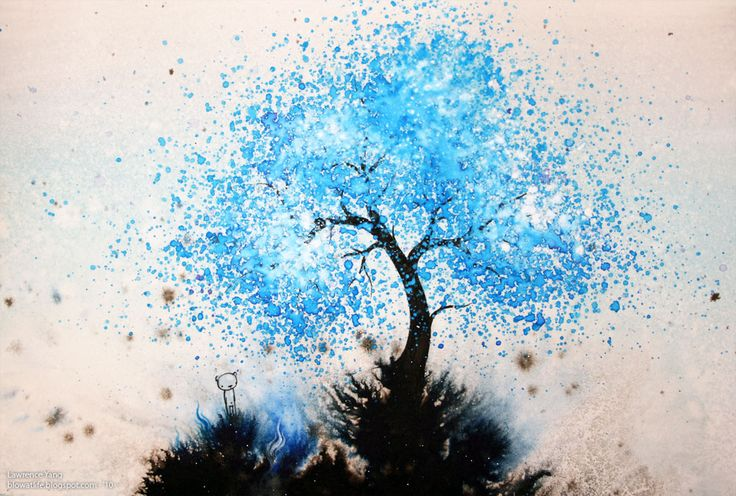 beautiful...words escape me: Watercolor Art, Trees Art, Watercolor Techniques, Watercolors, Lawrence Yang, Colors Blue, Trees Paintings, Watercolor Trees, Water Colors