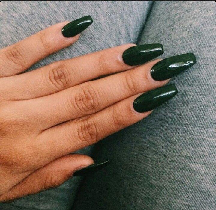 Dark Green Squoval Acrylic Nails