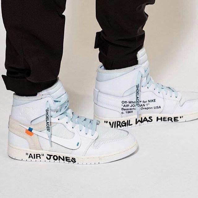"""c92ca76d8fe  Kim Jones 🔎 - Off-White X Nike Air Jordan 1 """"White"""" V2 - Personally  Customized By  Virgil Abloh 🖊 - """"VIRGIL WAS HERE"""" 📍 -  ONUS"""