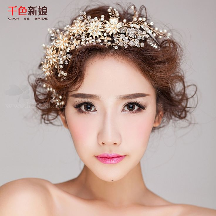 Luxurious Gold Color Headband Tiara Women forehead pearl jewelry hairband floral…