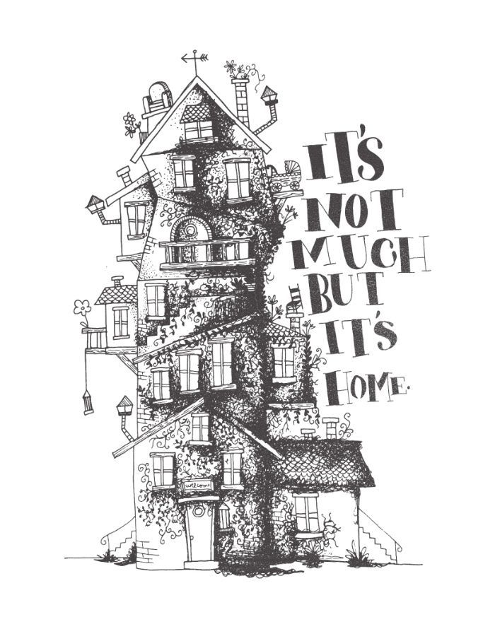 house, quirky, illustration, drawing, the burrow -…