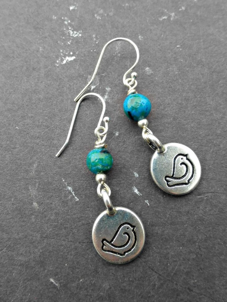 Earrings are 1 inch total in length, these are small very lightweight and simple. With small bird charms in sterling silver, blue green stone and sterling silver ear wires. As with all of my jewelry t