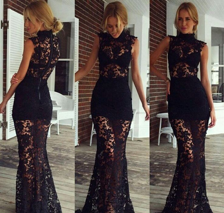 silhouette with lace dress black