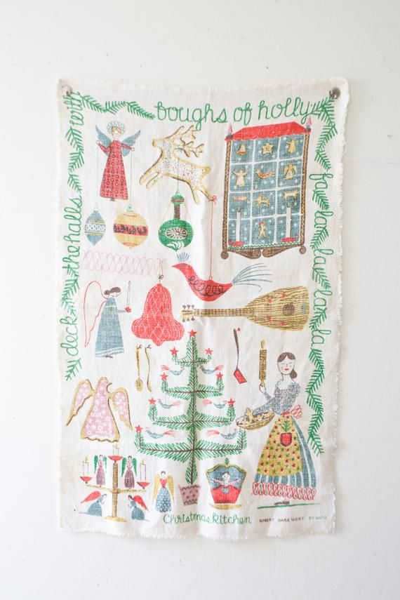 Christmas Wall Hanging – Kitchen Textile Music Banner Christmas Fabric Artwork Christmas Decor Vintage Christmas Canvas Robert Darr Wert