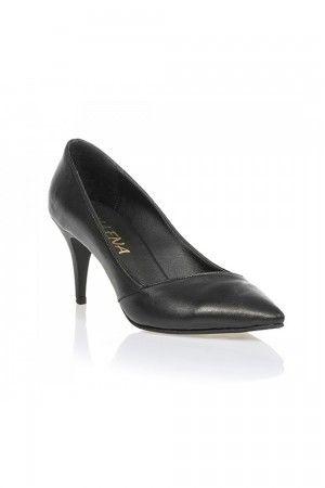 Kısa Topuklu Siyah Deri Stiletto TG1817