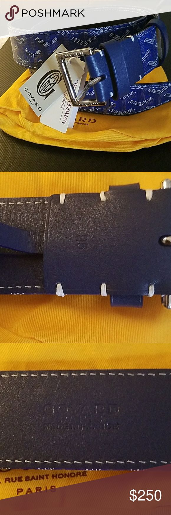 Goyard belt **best BEST OFFERS WELCOME** This is authentic and new with tags GOYARD belt SIZE 95cm will fit sizes 34-38 This is the BLUE colored Goyard monogram leather belt with SILVER buckle comes with dust bag and tags, & box. **NO LOW BALL OFFERS** Goyard Accessories Belts