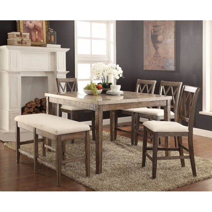 Marble Top Counter Height Dining Table