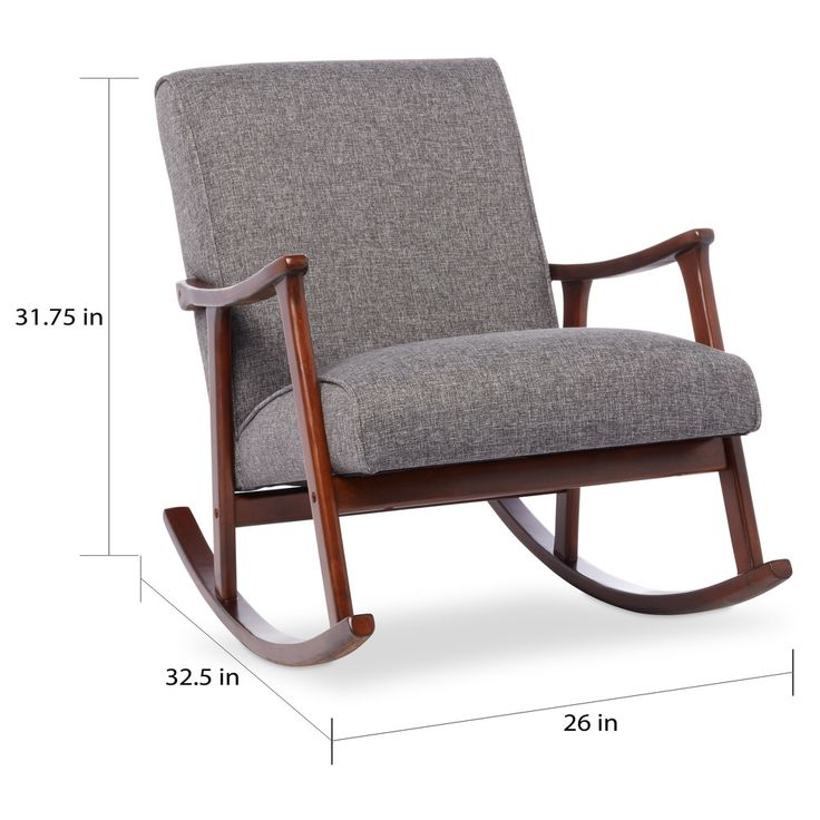 Granite Grey Fabric Mid Century Wooden Rocking Chair | Overstock.com Shopping - The Best Deals on Living Room Chairs
