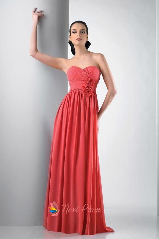 STUNNING!! Chiffon Coral Bridesmaid Dresses Strapless Chiffon ...