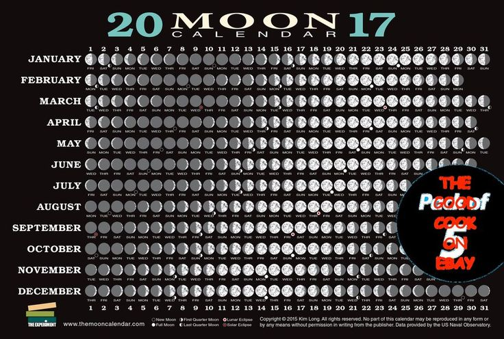 New 2017 Moon Phase Calendar Card  Phases Perigee Apogee Lunar Eclipse Time Zone…