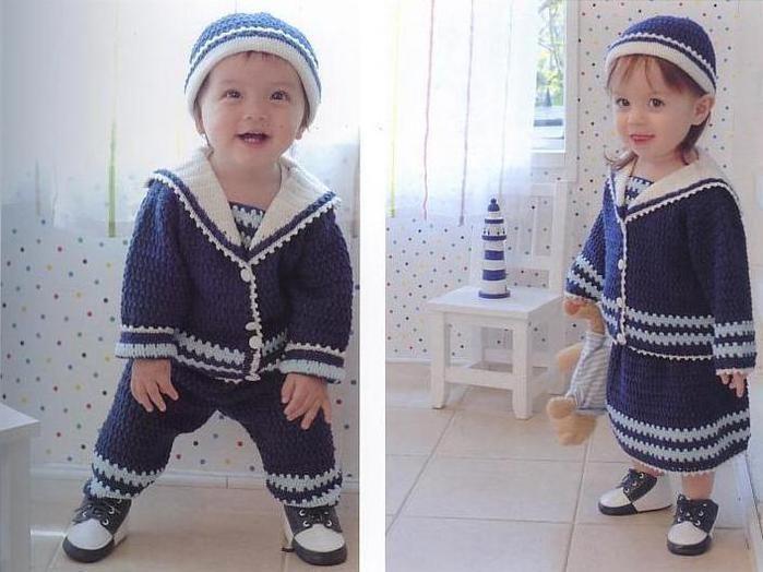 Детский костюм морячки крючком