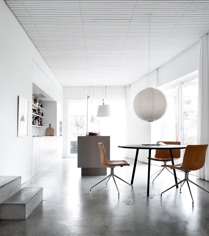 white and veneer at villa wienberg | Arper chairs