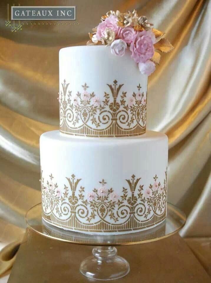 Golden Wedding Cake With Icing Flower Cascade