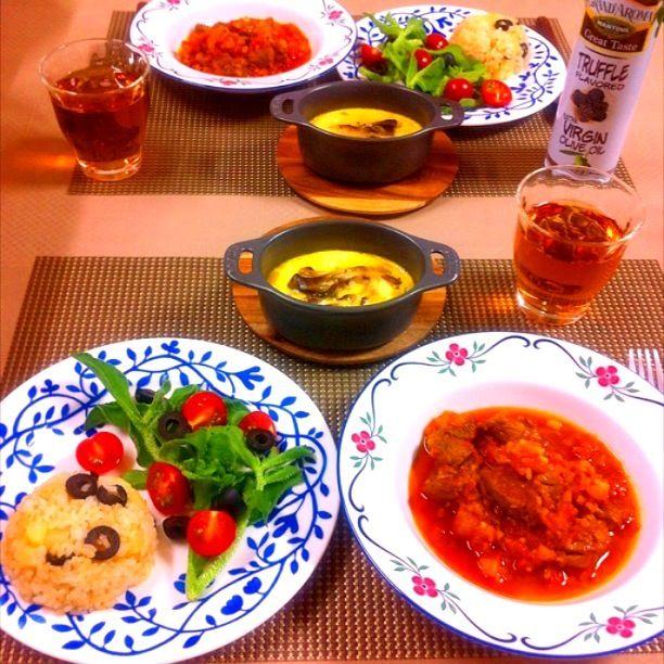*ラム肉のトマト煮込み *きのこのキッシュ *アイスプラントとトマトのサラダ - 75件のもぐもぐ - ラム肉のトマト煮込み by tiara2