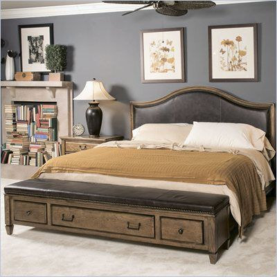 Perfect American Drew Americana Home Leather Bench Bed In Khaki Oak   114 34XR    Lowest