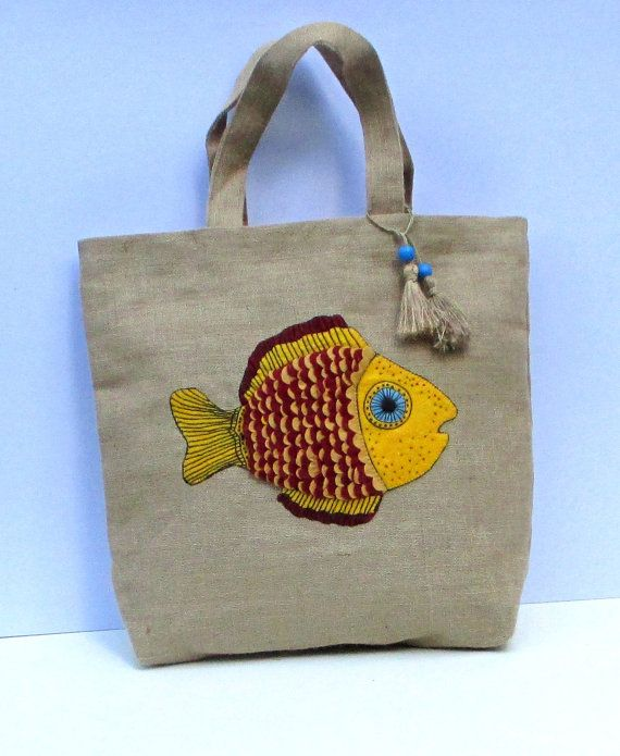 Tote bag with abstract summer fish Chic Jute by Apopsis on Etsy