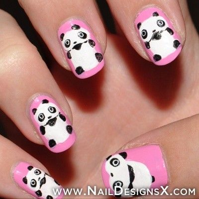 24 best animals nail designs nail art images on pinterest nail pink panda nails nail designs nail art prinsesfo Images
