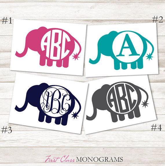 Best Decals Images On Pinterest Vinyl Decals Basketball And - Elephant monogram car decal
