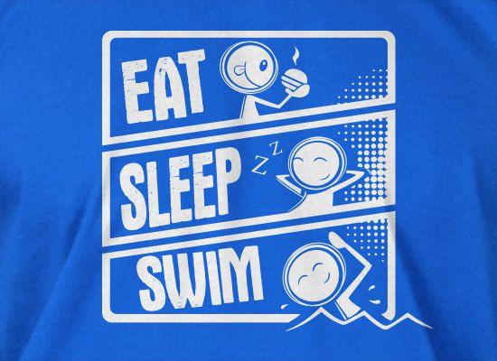 swimming t-shirt swim team Eat sleep swim t-shirt Gifts for Dad Screen Printed T-Shirt Tee Shirt T Shirt Mens Ladies Womens Youth Kids