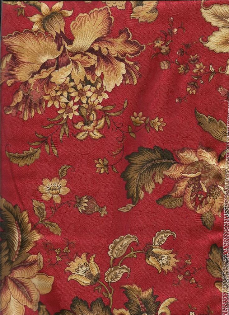 Dorothea Laquer Bold Red Print Floral Fabric With Olive Green Chocolate Cream And Taupe Colors Hints Of Merlot And Burgund In 2019