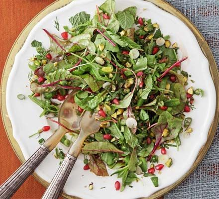 Herb salad with pomegranate & pistachios | Recipe