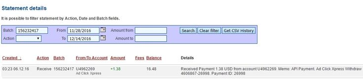 Withdrawal Proof 101 from Ad Click Xpress NOT A SCAM I am getting paid daily at ACX and here is proof of my latest withdrawal. This is not a scam and I love making money online with Ad Click Xpress. Thank You ACX !!!  Date: 06/12/2016 03:23 To Pay Processor Account: U4962269 Currency: USD Amount: 1.38 Batch: 156232417 Payment ID: 26998 Memo: API Payment. Ad Click Xpress Withdraw 4606867-26998 Status: Approved Join now: http://www. adclickxpress.is/?r=h87bk59gq3f&p=mx