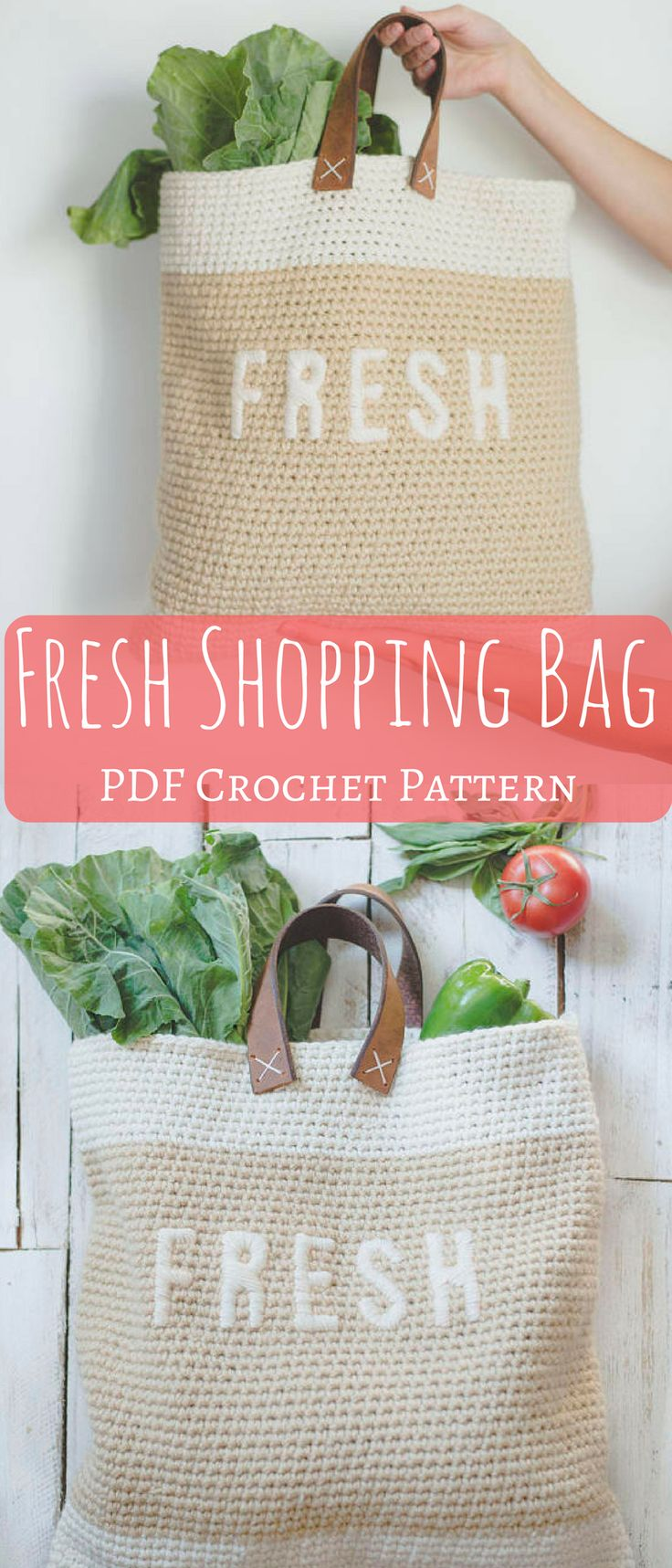 Super cool and simple farmer's market FRESH shopping bag that you can make yourself. This will make a nice diy project as I hate the plastic and paper shopping bags. #shoppingbag #ad #farmersmarketbag #crochetbag #crochetpattern