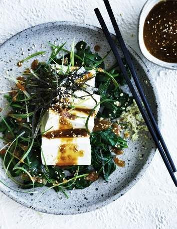Umami: Cold tofu and spinach salad.