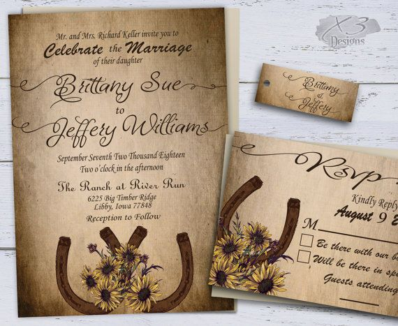 Sunflower Country Wedding Invitations, Printable Rustic Wedding Invitations, Summer Wedding, Western Wedding Invites, Horseshoe by X3designs