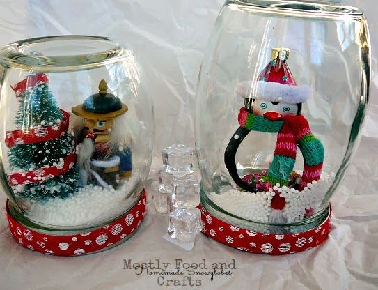 The 25 best homemade snow globes ideas on pinterest for Easy homemade christmas snow globes