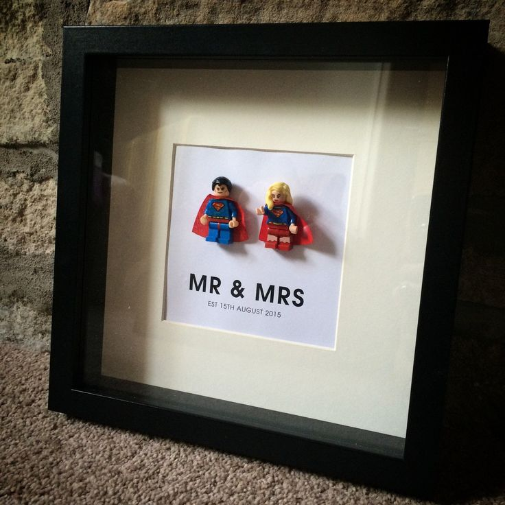 Lego Bride and Groom personalised wedding gift frame Superman & SuperWoman anniversary, valentines or just because gift by ArtsItsyBitsy on Etsy